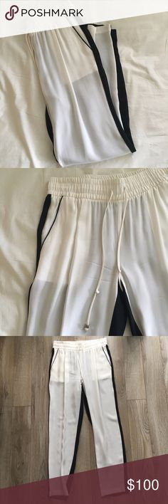 NWOT intermix silk pants Color block silk pants, little metal cubes on the ties that give it that minimalist touch. Super comfy, comes with pockets intermix Pants