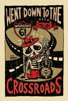 "Crossroads blues poster print by grego, 12"" x 18""."