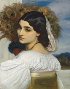 Pavonia.c.1859. Oil on Canvas. 53 x 41.5 cm. (20.86 x 16.14 in) Private collection. Art by Frederic Leighton.(1830-1896).