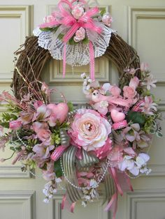 Mother's Day Door Wreath - Pink Roses - Pearls - Pink Glitter Bird - Doilies by Jan
