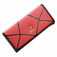 Egmy Womens Button Wallet PU leather Crown Mixed Colors Coin Purse Card Bags Long Red * Click on the image for additional details.