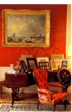 little augury: Portrait of a Lady: Betty de Rothschild Red Interiors, Beautiful Interiors, Red Cottage, Red Rooms, French Country House, Red Paint, Traditional House, Country Decor, Decoration