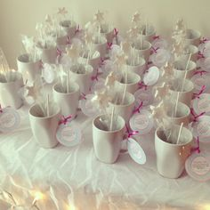 winter wonderland birthday party; adult party favors - homemade hot cocoa sticks, marshmallows, and mug