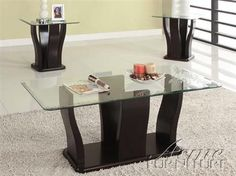 Shaker Espresso Wood Glass 3Pc Coffee/End Table Set