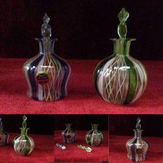 paire de petit flacons en verre de murano xx siècle étiquette de la maison