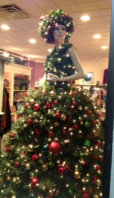 Marguerite, our mannequin Christmas tree. Some of these are just fun and so different. So great for store fronts.