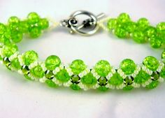 Beadwoven Green Bracelet with Flower Clasp by SmileykitCreations, $38.00