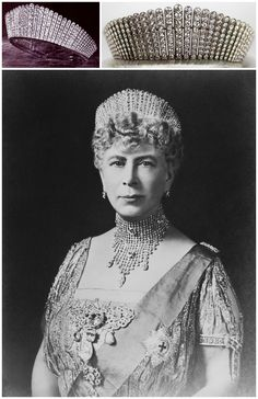 """Queen Alexandra's Russian Kokoshnik Tiara, made by Garrard & Co., 1888. It was presented to Queen Alexandra of the United Kingdom as a Silver Wedding gift by the """"Ladies of Society"""" (365 peeresses of the realm). She bequeathed it to her daughter-in-law, Queen Mary. Photos (clockwise from top left): via the Order of Splendor Blog; © The British Monarchy on Flickr; Queen Mary wearing the Kokoshnik Tiara, 1934, Royal Collection Trust/© Her Majesty Queen Elizabeth II 2015. CLICK FOR BIGGER…"""