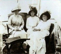 Grand Duchesses Tatiana and Olga Nikolaevna Romanova of Russia and Baroness Sophie Buxhoeveden on the tender,Neva in 1914.A♥W