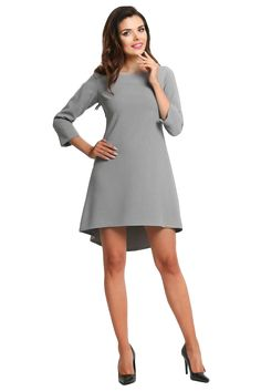 Women Grey Longer Back Double Fold Dress