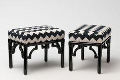 Madeline Weinrib Black & White Zig Zag Amagansett Ottomans