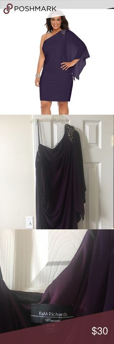 Purple One Shoulder Dress NWOT. Polyester/spandex so has some give. Great as a party dress or for an evening wedding. R & M Dresses One Shoulder