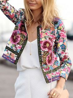 Shop Vintage Print Slim Crop Coat at ROMWE, discover more fashion styles online. Boho Fashion, Vintage Fashion, Fashion Outfits, Fashion Design, Fashion Trends, Fashion Coat, Bohemian Mode, Hippie Chic, Vintage Outfits
