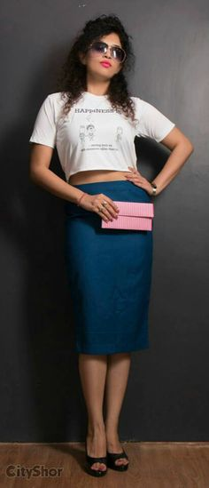 Happiness T-shirt with pencil high waist skirt  by AN'S
