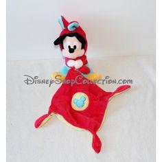 Doudou Mickey NICOTOY DISNEY déguisé en lapin mouchoir bleu rouge 3 noeuds