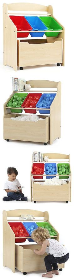 Kids at Home: Kids Toy Storage Organizer Bedroom Bucket Wood Furniture Rolling Box Room New -> BUY IT NOW ONLY: $65.28 on eBay!