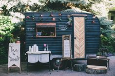 Garden party with vintage camper food truck