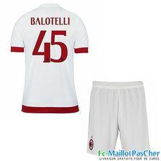 Nouveau Maillots Milan AC Rouge et blanc Enfant BALOTELLI 45 Exterieur 15 2016 2017