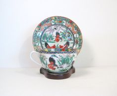 Asian Teacup and Saucer Fine China Eggshell by PSSimplyVintage