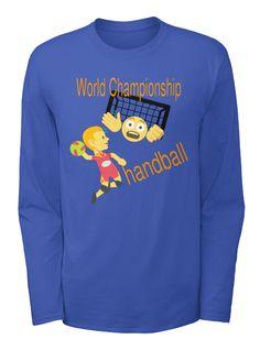 World Championship Handball Royal Blue T-Shirt à manches longues Front