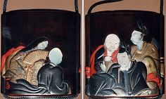 Case (Inrô) with Design of Six Immortal Poets  Kajikawa School  Period: Edo period (1615–1868) Date: 19th century Culture: Japan Medium: Gold and silver maki-e with black and red lacquer relief and mother-of-pearl inlay;