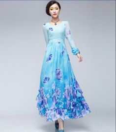 Blue Floral Print Bohemian Aline Dress Full Pleated by ChineseHut, $175.00