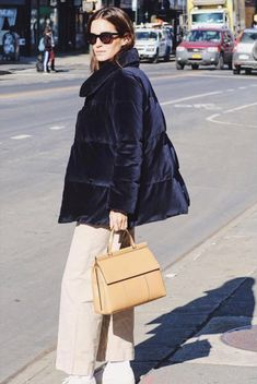 Gala Gonzalez with her T Satchel getting ready for New York Fashion Week