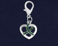 Silver Heart Crystal Green Ribbon Hanging Charms. These  heart charms are approximately 5/8 inch by 5/8 inch. Packaged 25 charms per pack. Product Code: HC-100-13