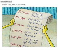 Hahaha Pete wentz schedule...haha-stare at Patrick