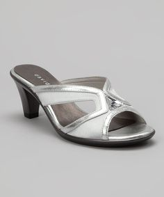 Take a look at the Silver Eva Leather Slide on #zulily today!