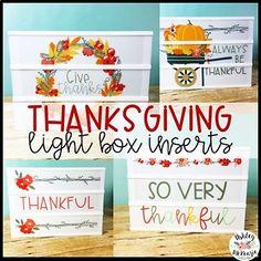 Thanksgiving Light Box Inserts - Heidi Swapp or Leisure Arts Light Up Box, Light Board, Lightbox Art, Thanksgiving Bulletin Boards, Boxing Quotes, Heidi Swapp, Box Signs, Love Craft, Teacher Hacks
