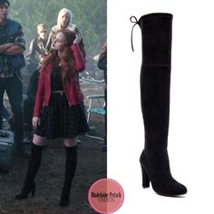 "Cheryl Blossom wears these black suede over-the-knee Steve Madden ""Gorgeous"" boots on Riverdale Cheryl Blossom Riverdale, Riverdale Cheryl, Edgy Outfits, Girl Outfits, Cute Outfits, Fashion Tv, Girl Fashion, Fashion Outfits, Cheryl Blossom Aesthetic"