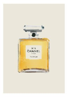 Chanel No. 5 parfume bottle painting by TheShufflePrintsShop