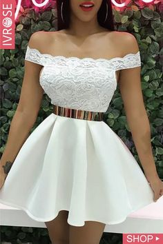Off Shoulder Lace Splicing Pleated Dress trendiest dresses for any occasions, including wedding gowns, special event dresses, accessories and women clothing.