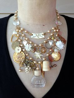 Steampunk Jewelry Statement  Necklace Cream Mother of Pearl Wedding by rebecca3030.etsy.com