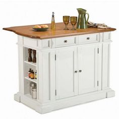 Kitchen Islands - White Kitchen Island with Oak Top by Home Styles | KitchenSource.com