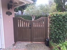 Custom Wood Gate with Decorative Wood Pickets and Inverse Arch by Garden Passages Spanish Revival, Spanish Colonial, Fence Gate, Fences, Double Gate, Floral Park, Garden Gates, Craftsman Style, Custom Wood