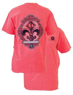 Southern Couture Preppy Vintage Fleur De Lis Comfort Colors Red Orange Girlie Bright T Shirt from Simply Cute Tees. Saved to Epic Wishlist.