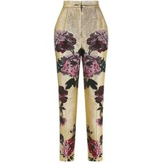 Dolce & Gabbana Metallic Floral Trousers ($1,485) ❤ liked on Polyvore featuring pants, dolce gabbana trousers, flower print pants, metallic pants, brown trousers and floral printed pants