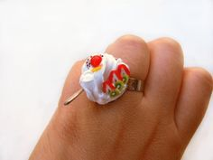 Ring sweet jewelry handmade miniature lemon donut dessert mini food dollhouse fimo tiny cake candy summer kawaii cute ooak jewellery gift