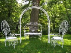 Vintage Victorian Wrought Iron Outdoor Furniture Set Arch Bench Chairs MPLS  | EBay