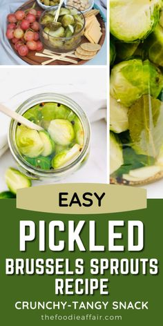 This simple way to pickle Brussels sprouts is going to be your favorite way to enjoy this vegetable. Tangy and crunchy makes a perfect snack to add to a charcuterie board! Ready to be enjoyed after 24 hours. Also makes a great food gift. Check out the details over at The Foodie Affair blog. #diy #pickled #brussels #sprouts
