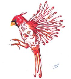 Prismacolor pencil drawing of a Cardinal. This is a tattoo for my daughter.