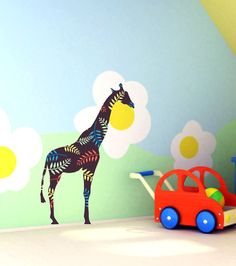 Nursery Decor Brown Giraffe Wall Decal by Popitay on Etsy, $45.00