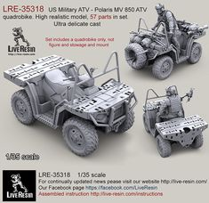 US Military ATV - Polaris MV 850 ATV quadrobike. High realistic model, 57 parts in set. Ultra delicate cast - New products Military Guns, Military Vehicles, Plastic Model Kits, Plastic Models, Polaris Atv, Quad Bike, Atv Quad, Military Action Figures, Model Hobbies