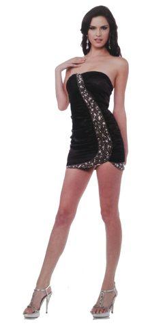 Sexy Satin Strapless Short Mini Club Jeweled Black Dress Form Fit $79.99