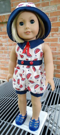 18 Doll Clothes 1930's1940's Romper For Summer by Designed4Dolls