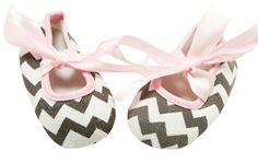Gray Chevron Crib Shoes with Light Pink Satin Laces