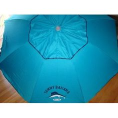 Tommy Bahama 7 Ft Beach Umbrella with Sand Anchor and Tilt SPF 100 - Blue
