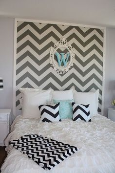 I love this look! I think I would go with Greek key or quatrefoil instead of the chevron.
